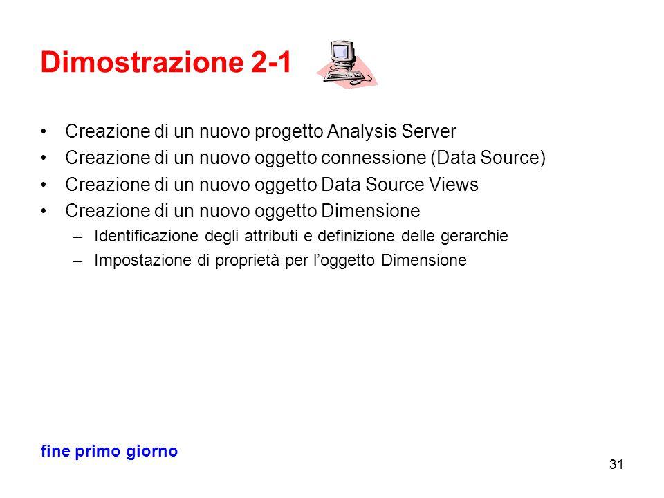 Dimostrazione 2-1 Creazione di un nuovo progetto Analysis Server