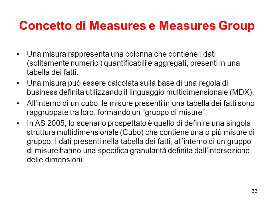 Concetto di Measures e Measures Group