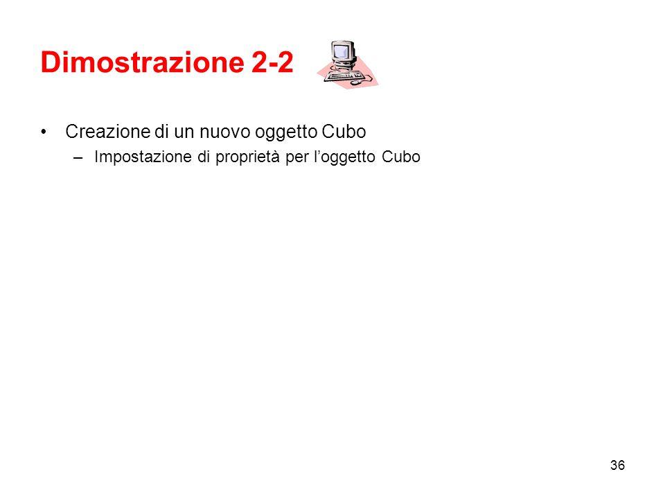 Dimostrazione 2-2 Creazione di un nuovo oggetto Cubo