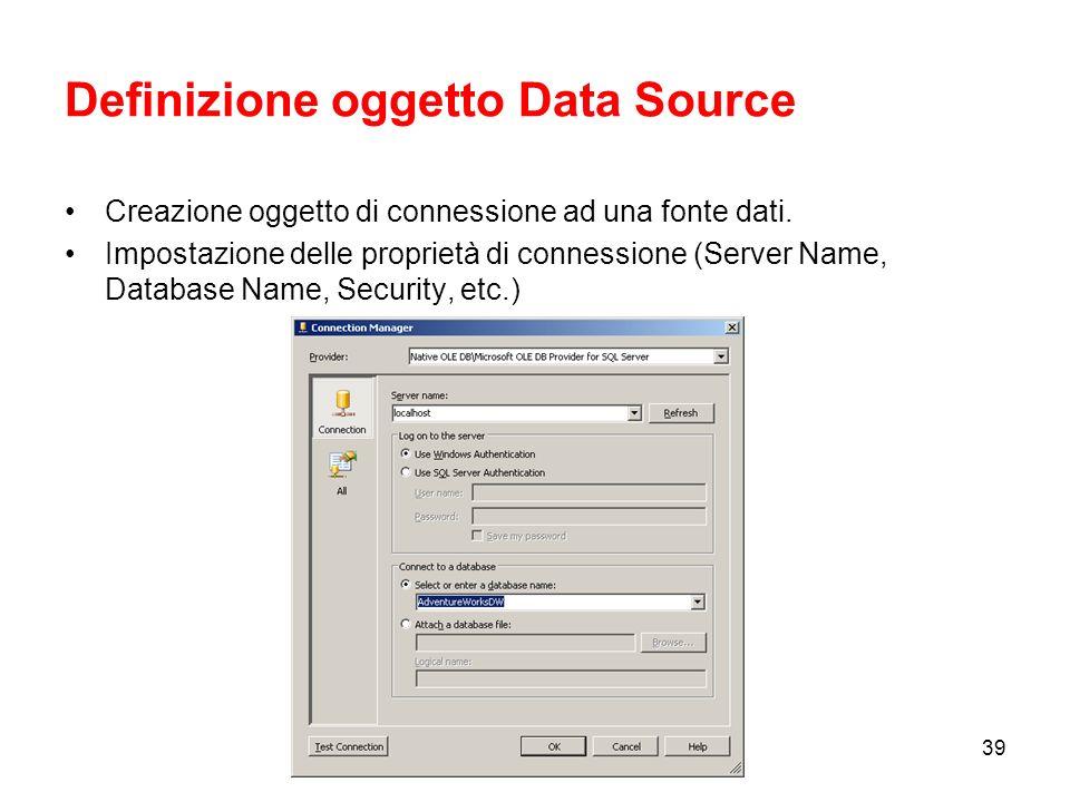 Definizione oggetto Data Source