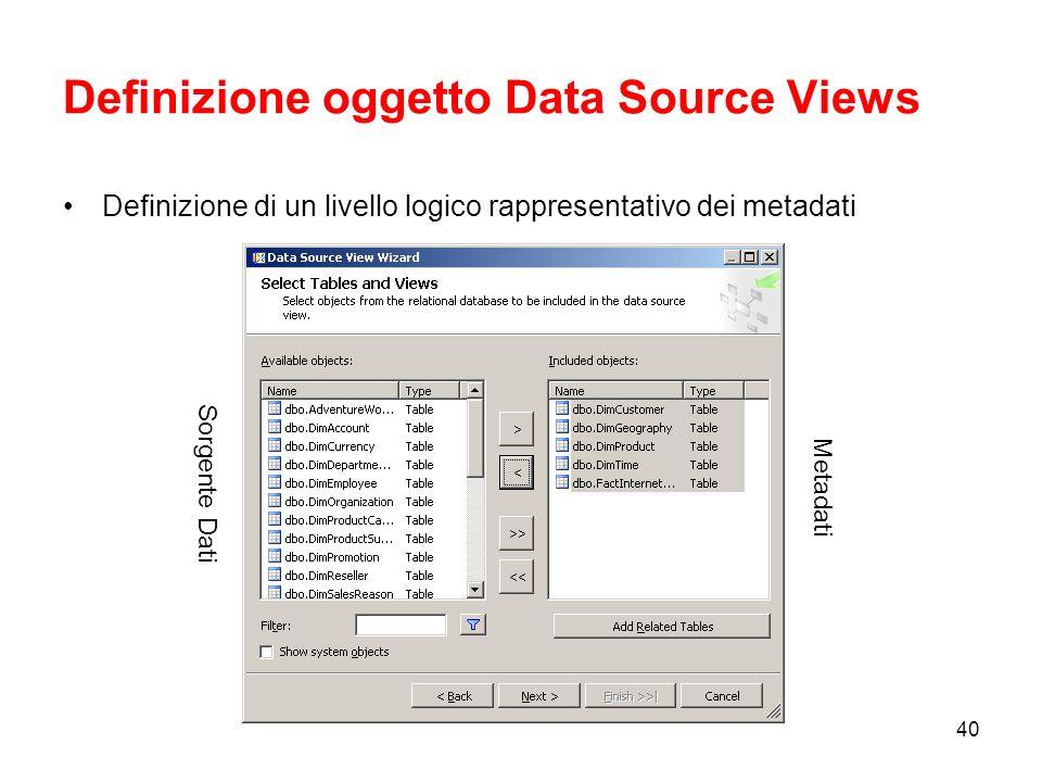 Definizione oggetto Data Source Views