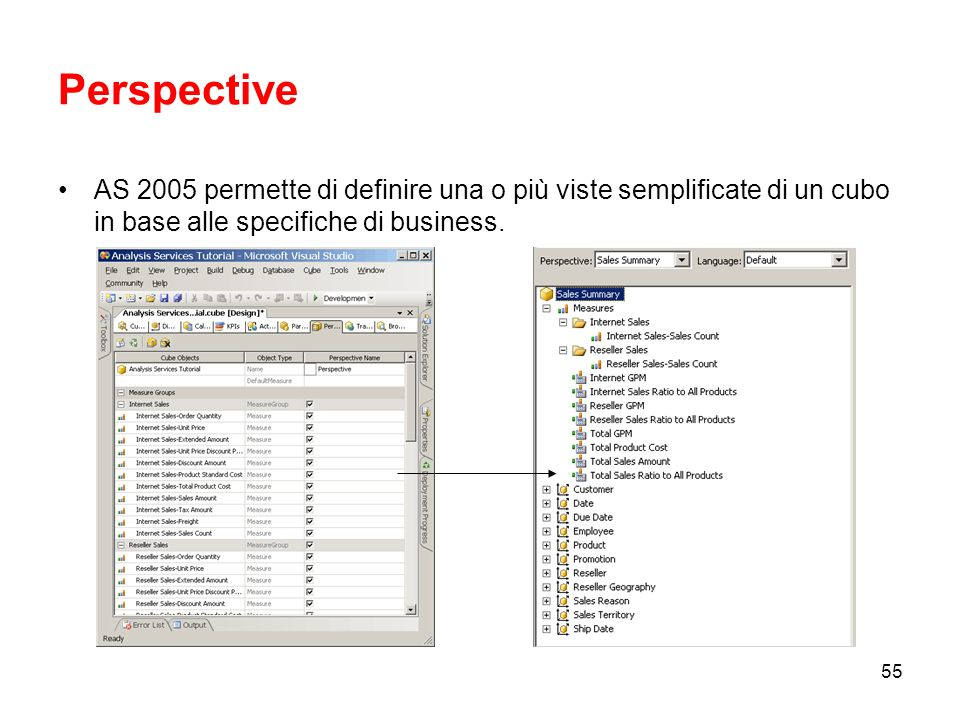Perspective AS 2005 permette di definire una o più viste semplificate di un cubo in base alle specifiche di business.