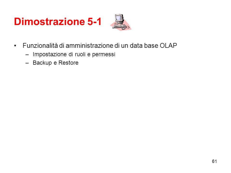 Dimostrazione 5-1 Funzionalità di amministrazione di un data base OLAP