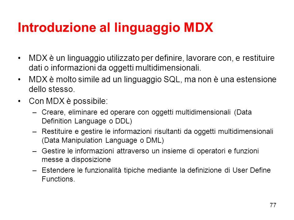 Introduzione al linguaggio MDX