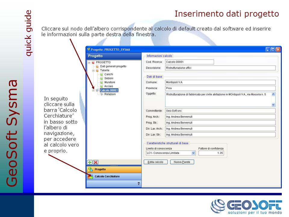 Inserimento dati progetto