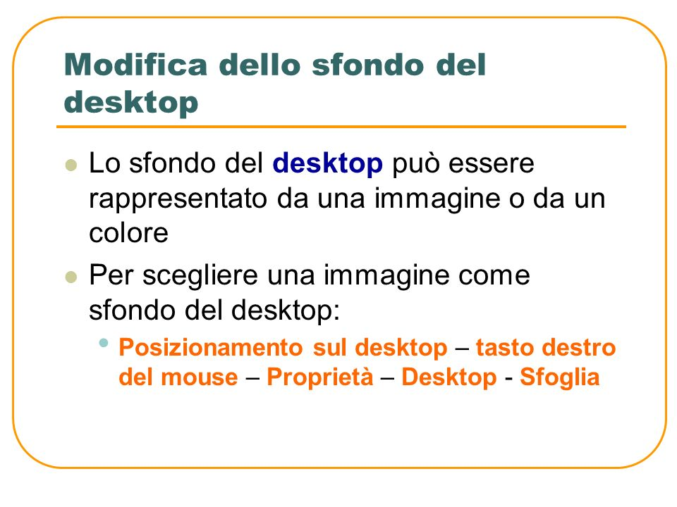 Modifica dello sfondo del desktop