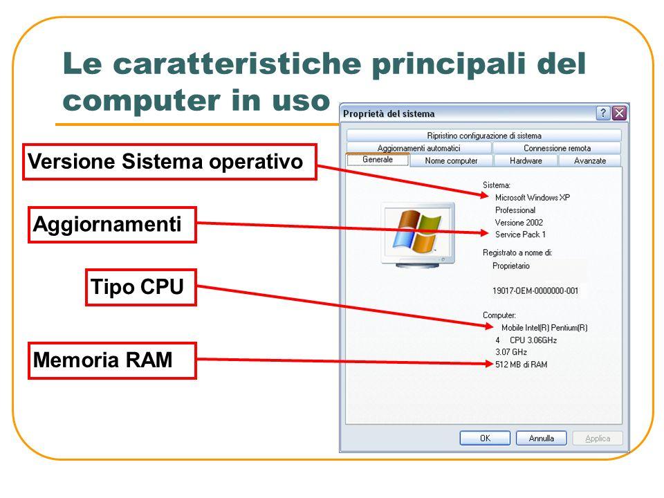 Le caratteristiche principali del computer in uso