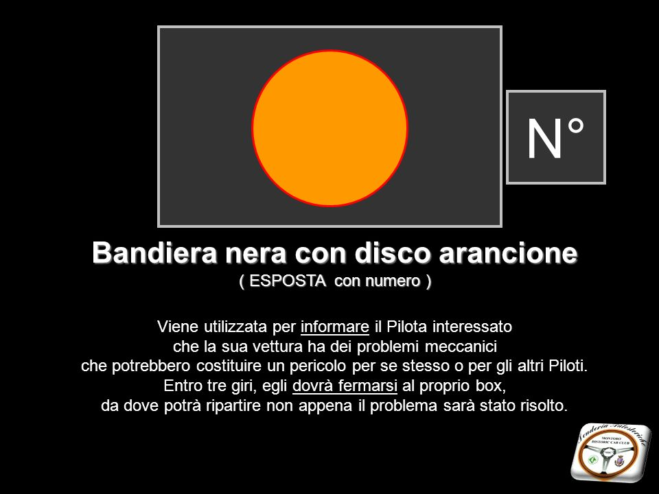 Bandiera nera con disco arancione
