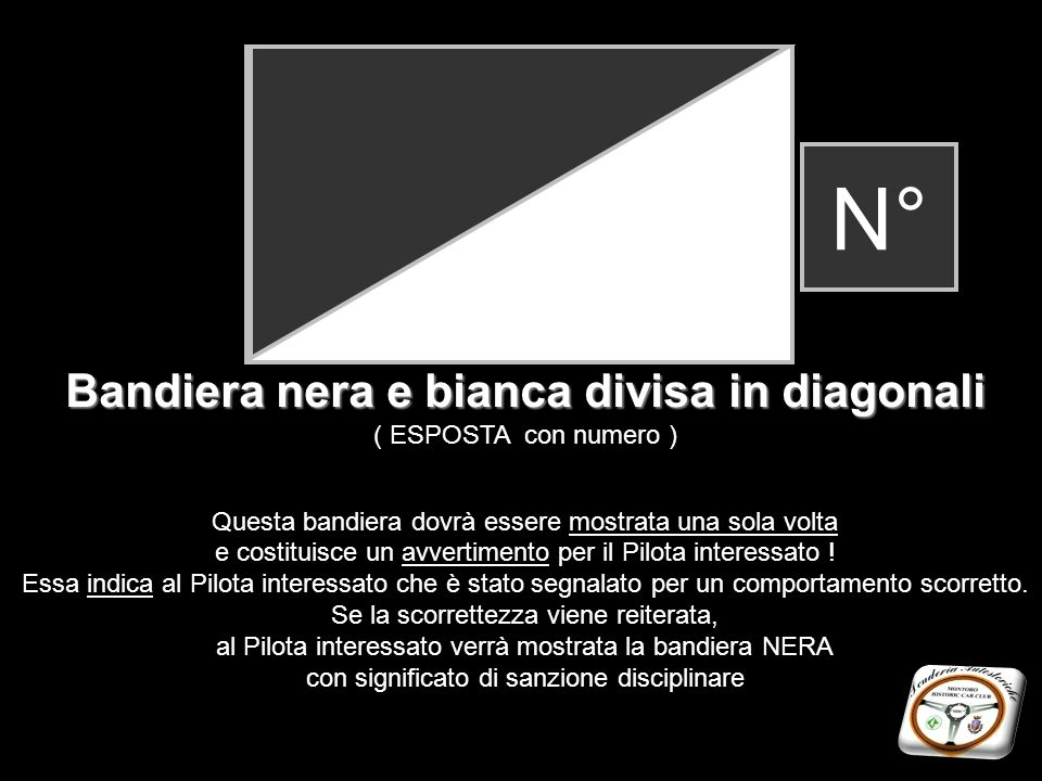 Bandiera nera e bianca divisa in diagonali
