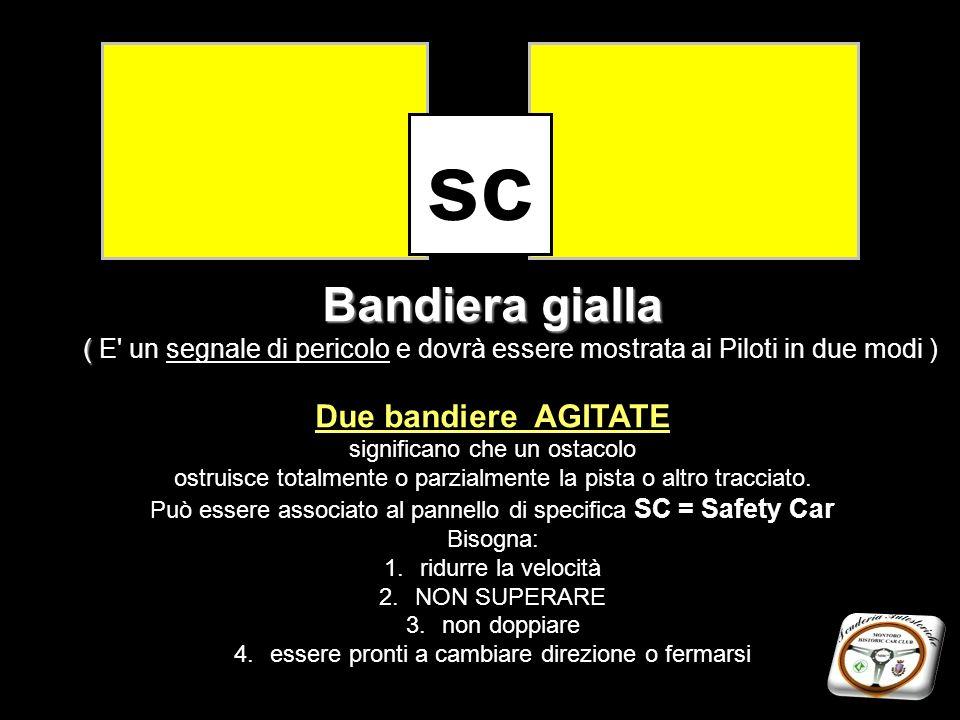 sc Bandiera gialla ( E un segnale di pericolo e dovrà essere mostrata ai Piloti in due modi ) Due bandiere AGITATE.