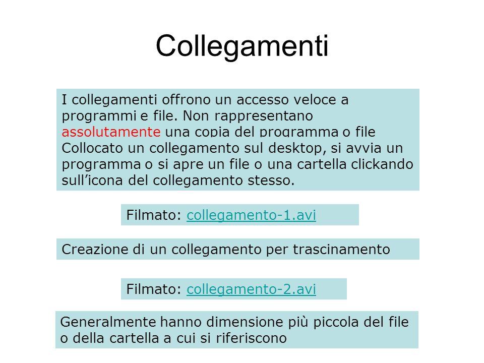 Collegamenti I collegamenti offrono un accesso veloce a programmi e file. Non rappresentano assolutamente una copia del programma o file originale.