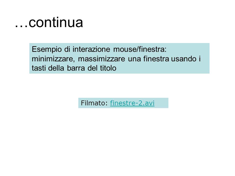 …continua Esempio di interazione mouse/finestra: minimizzare, massimizzare una finestra usando i tasti della barra del titolo.