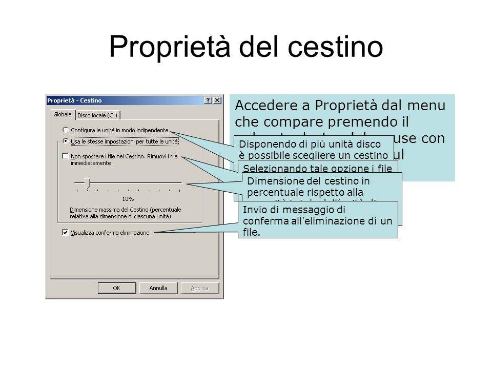 Proprietà del cestino Accedere a Proprietà dal menu che compare premendo il pulsante destro del mouse con il cursore posizionato sul cestino stesso.