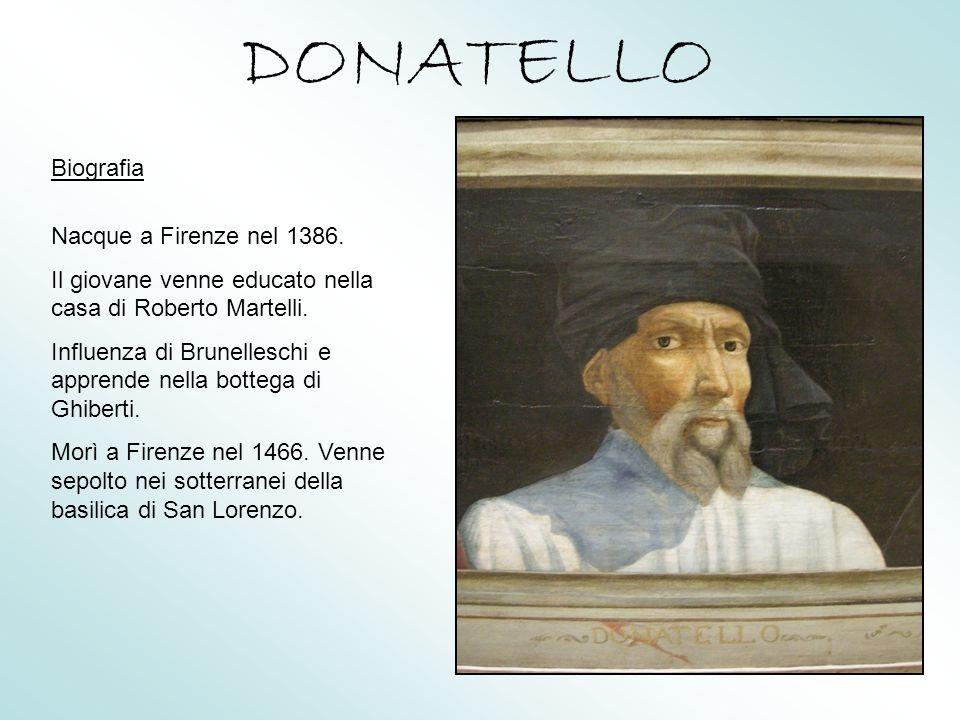DONATELLO Biografia Nacque a Firenze nel 1386.