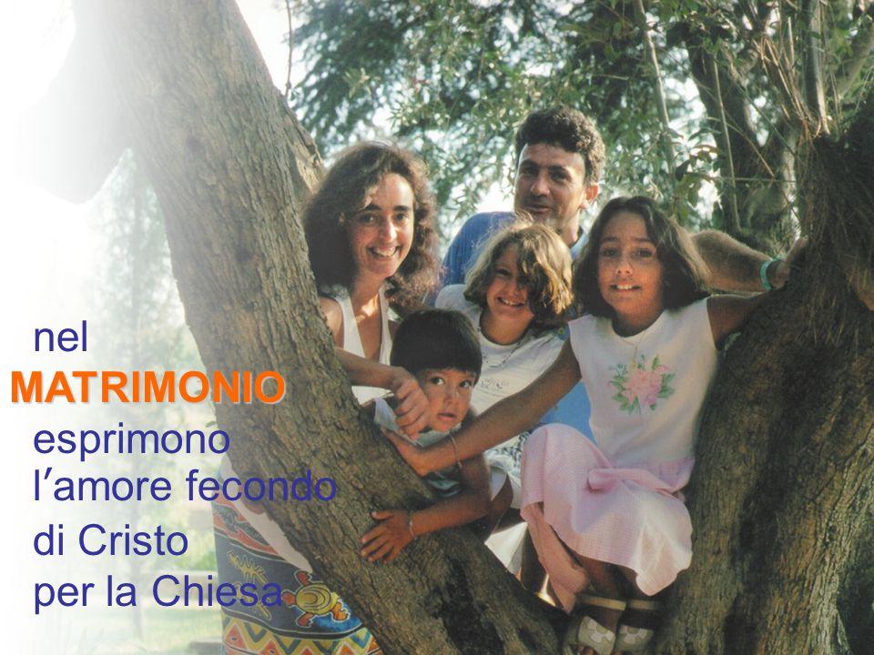 nel MATRIMONIO esprimono l'amore fecondo di Cristo per la Chiesa