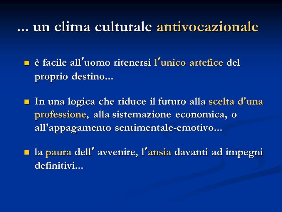 ... un clima culturale antivocazionale