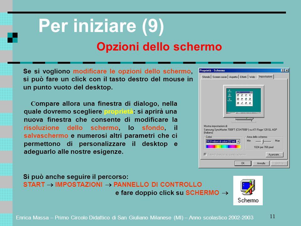 Per iniziare (9) Opzioni dello schermo