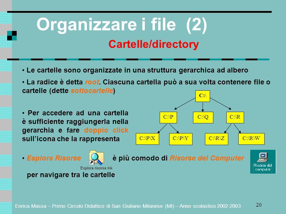 Organizzare i file (2) Cartelle/directory