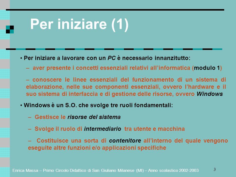 Per iniziare (1) • Per iniziare a lavorare con un PC è necessario innanzitutto: