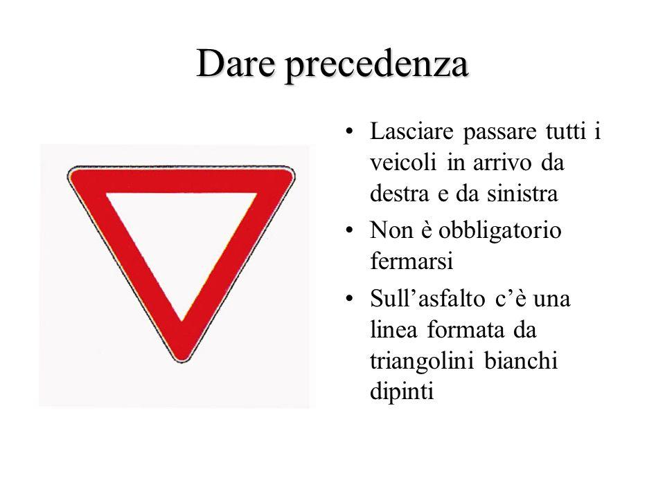 Dare precedenzaLasciare passare tutti i veicoli in arrivo da destra e da sinistra. Non è obbligatorio fermarsi.