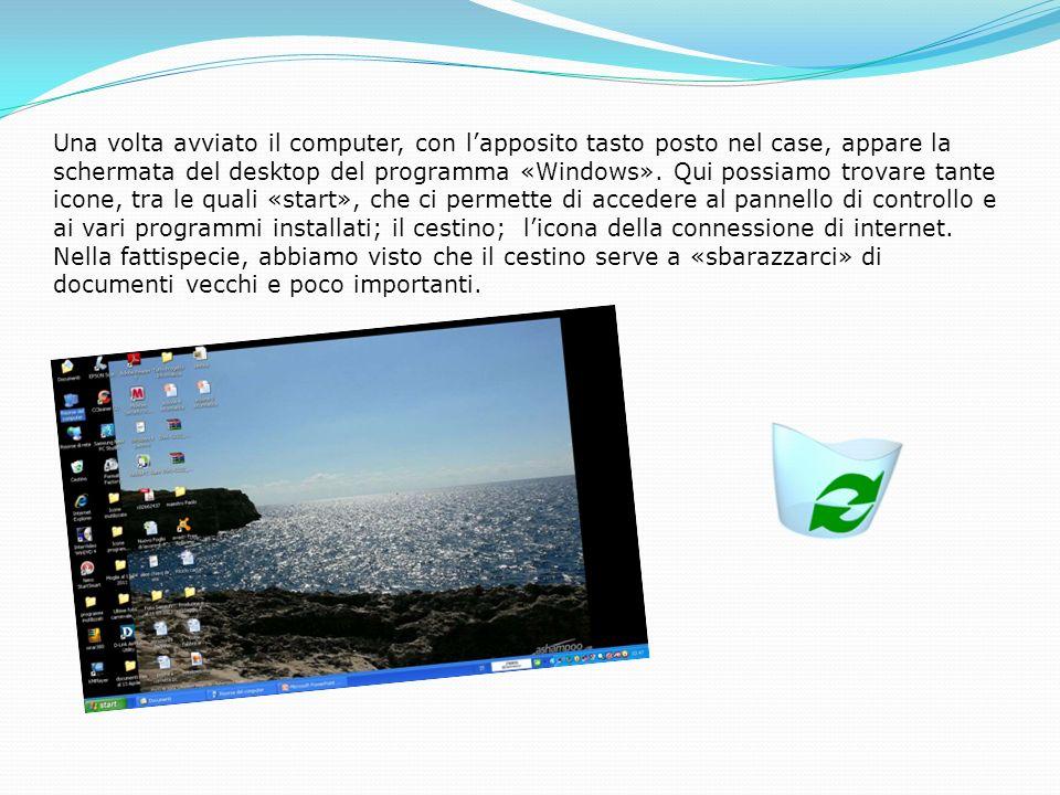 Una volta avviato il computer, con l'apposito tasto posto nel case, appare la schermata del desktop del programma «Windows».