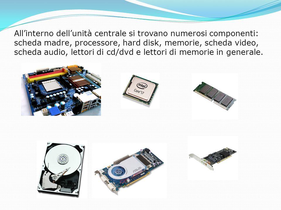 All'interno dell'unità centrale si trovano numerosi componenti: scheda madre, processore, hard disk, memorie, scheda video, scheda audio, lettori di cd/dvd e lettori di memorie in generale.
