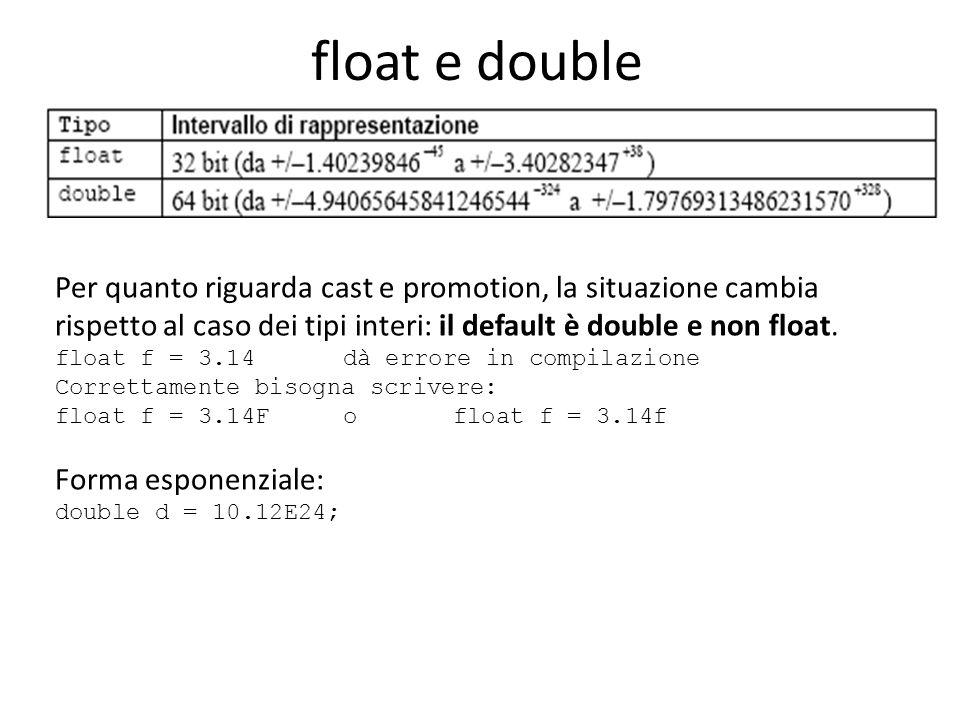 float e double Per quanto riguarda cast e promotion, la situazione cambia rispetto al caso dei tipi interi: il default è double e non float.