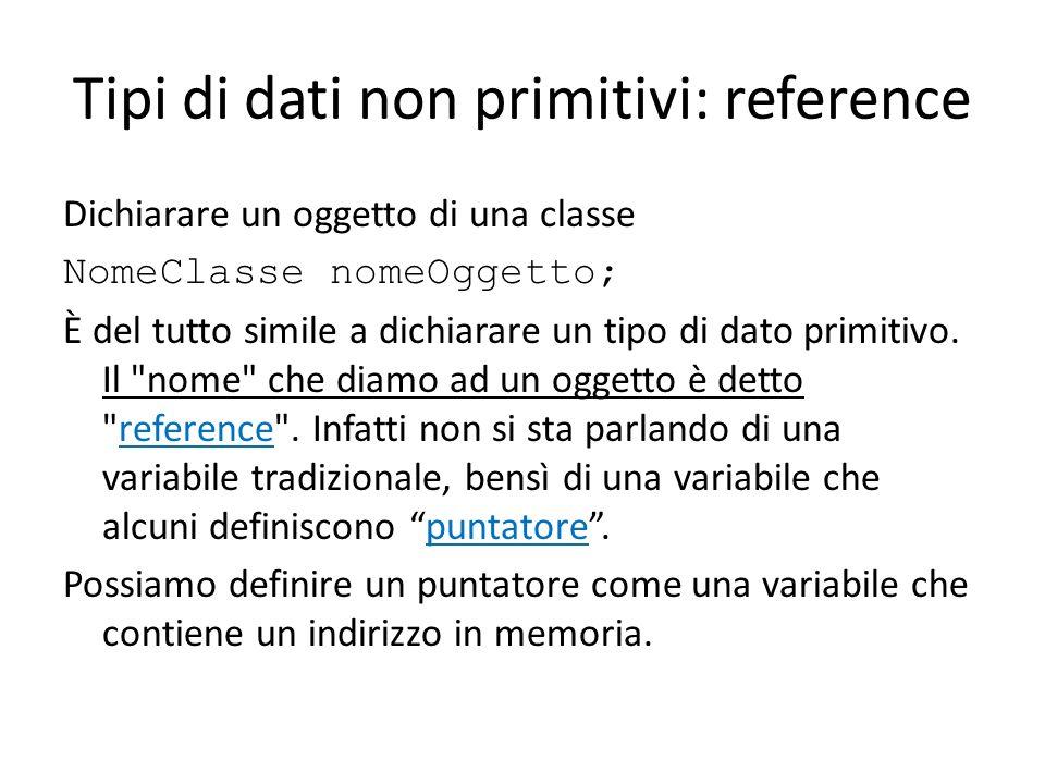 Tipi di dati non primitivi: reference