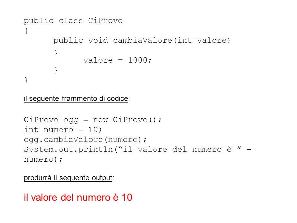il valore del numero è 10 public class CiProvo {