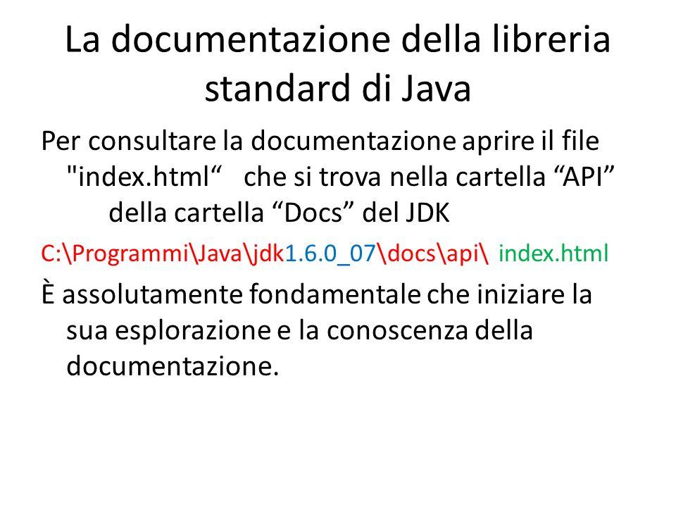 La documentazione della libreria standard di Java