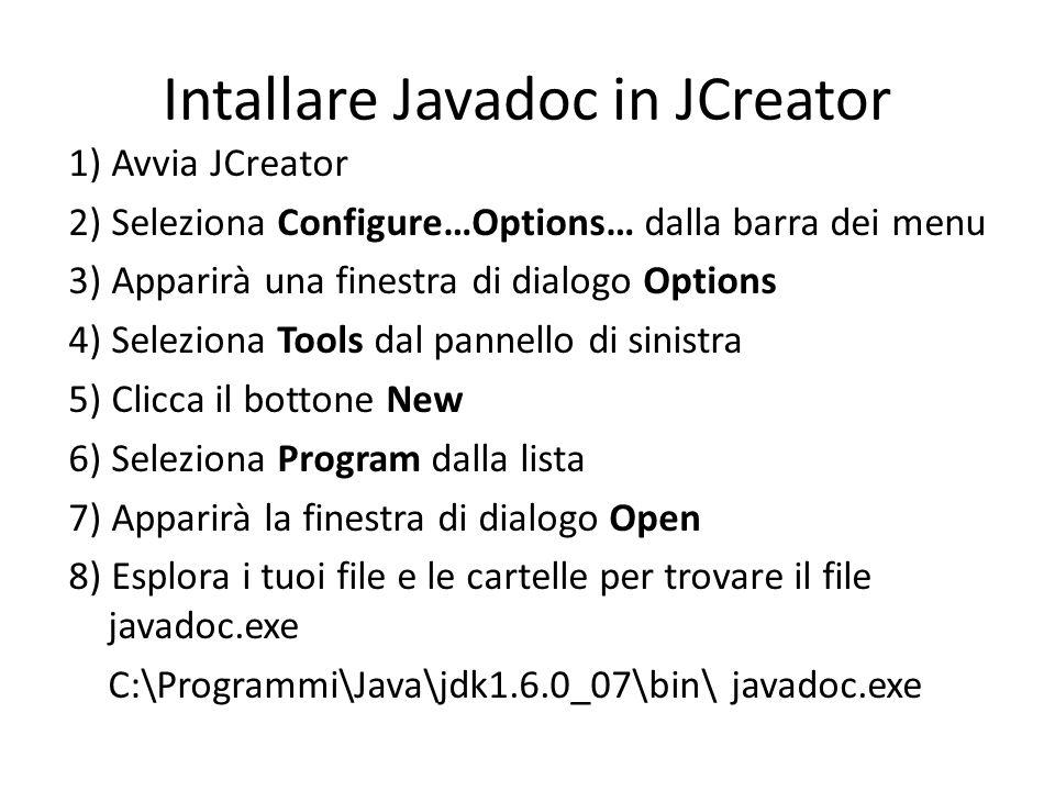 Intallare Javadoc in JCreator