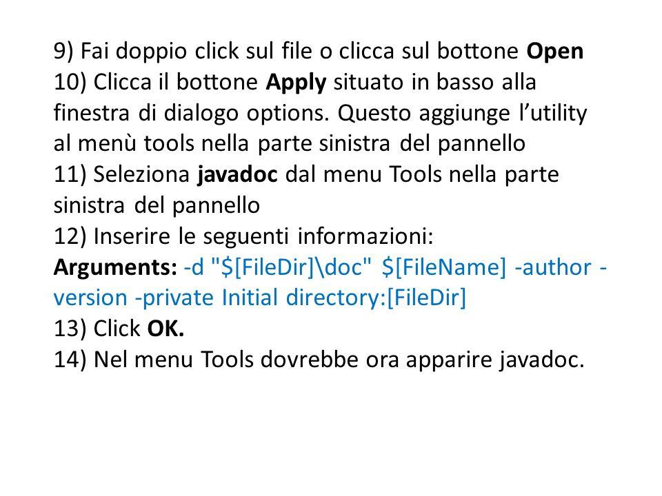 9) Fai doppio click sul file o clicca sul bottone Open