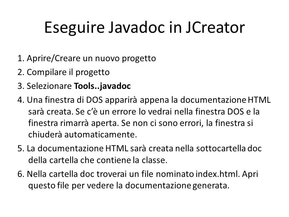 Eseguire Javadoc in JCreator