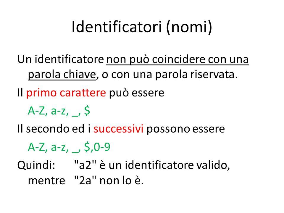 Identificatori (nomi)