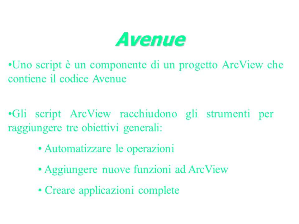 Avenue Uno script è un componente di un progetto ArcView che contiene il codice Avenue.