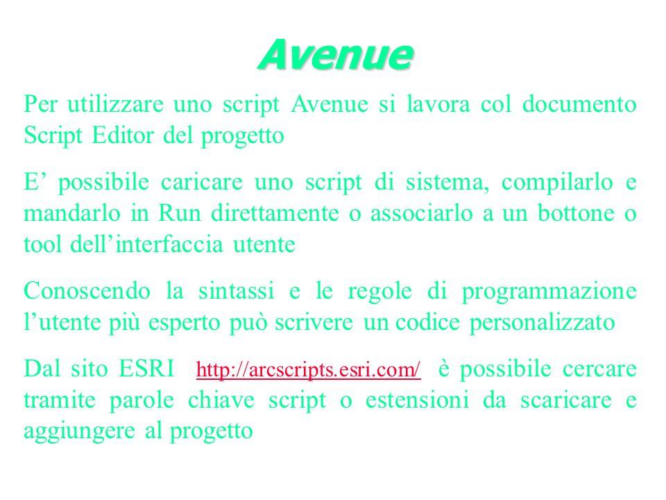 Avenue Per utilizzare uno script Avenue si lavora col documento Script Editor del progetto.