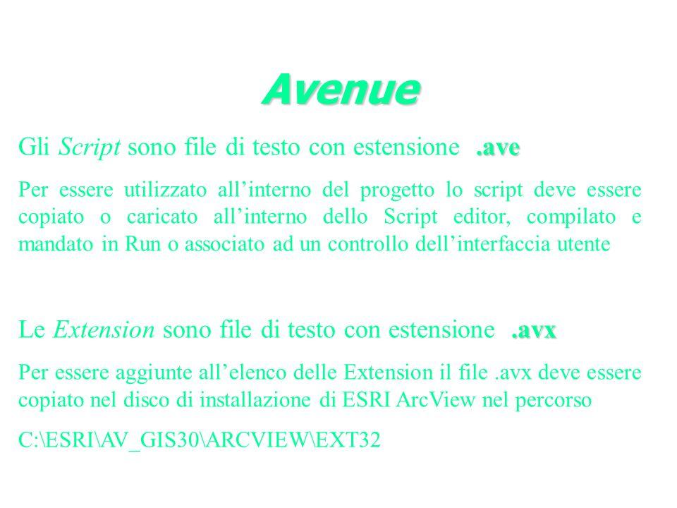 Avenue Gli Script sono file di testo con estensione .ave