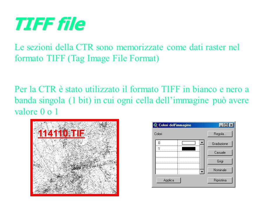 TIFF file Le sezioni della CTR sono memorizzate come dati raster nel formato TIFF (Tag Image File Format)