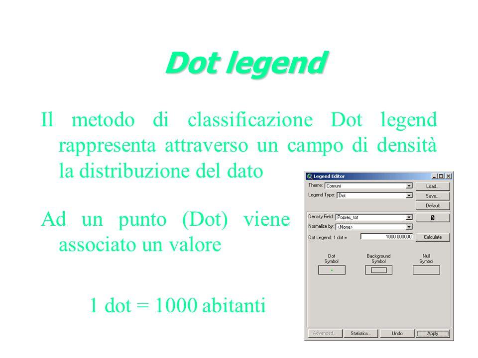 Dot legend Il metodo di classificazione Dot legend rappresenta attraverso un campo di densità la distribuzione del dato.