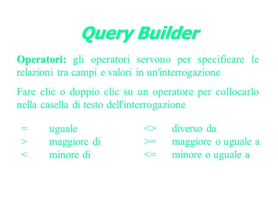 Query Builder Operatori: gli operatori servono per specificare le relazioni tra campi e valori in un interrogazione.