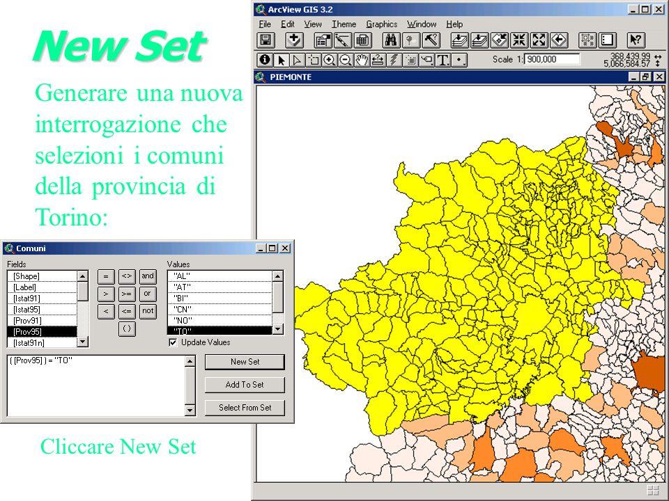 New Set Generare una nuova interrogazione che selezioni i comuni della provincia di Torino: Cliccare New Set.