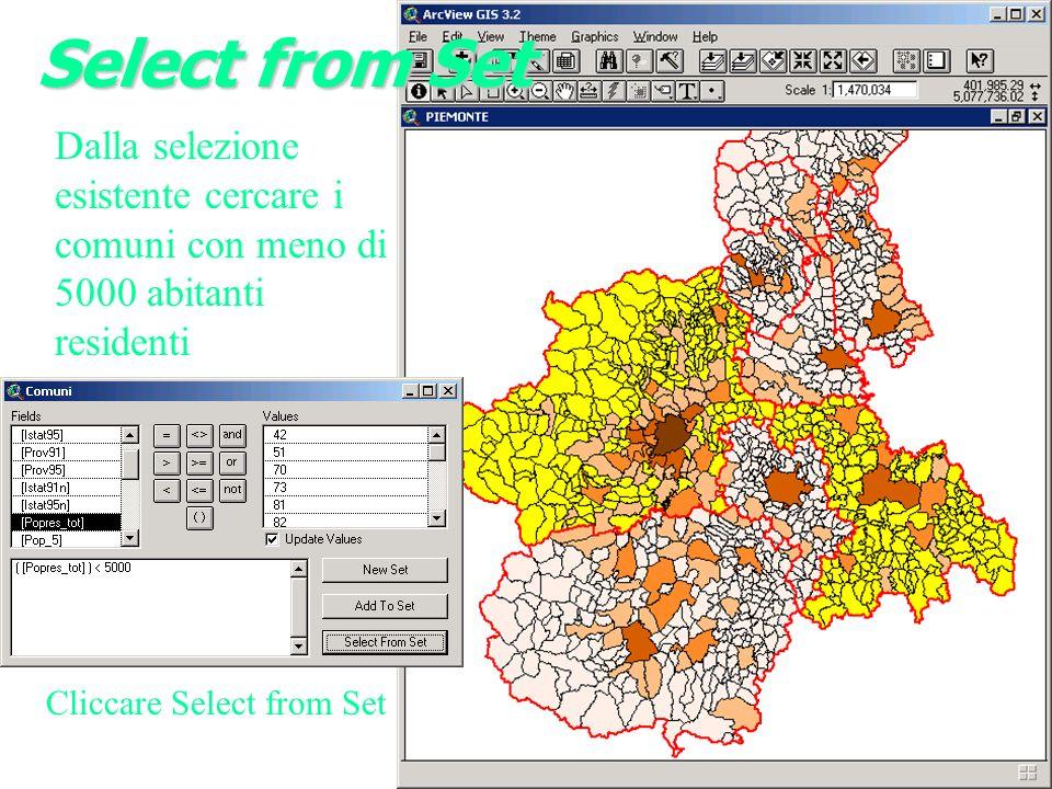 Select from Set Dalla selezione esistente cercare i comuni con meno di 5000 abitanti residenti.