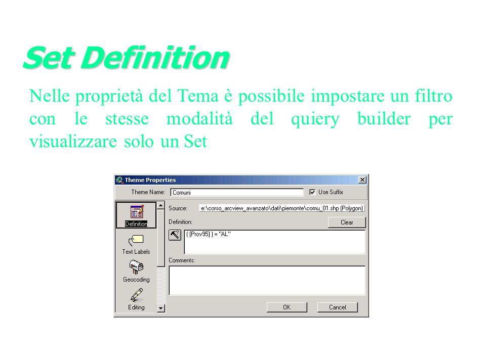 Set Definition Nelle proprietà del Tema è possibile impostare un filtro con le stesse modalità del quiery builder per visualizzare solo un Set.