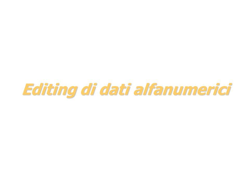 Editing di dati alfanumerici