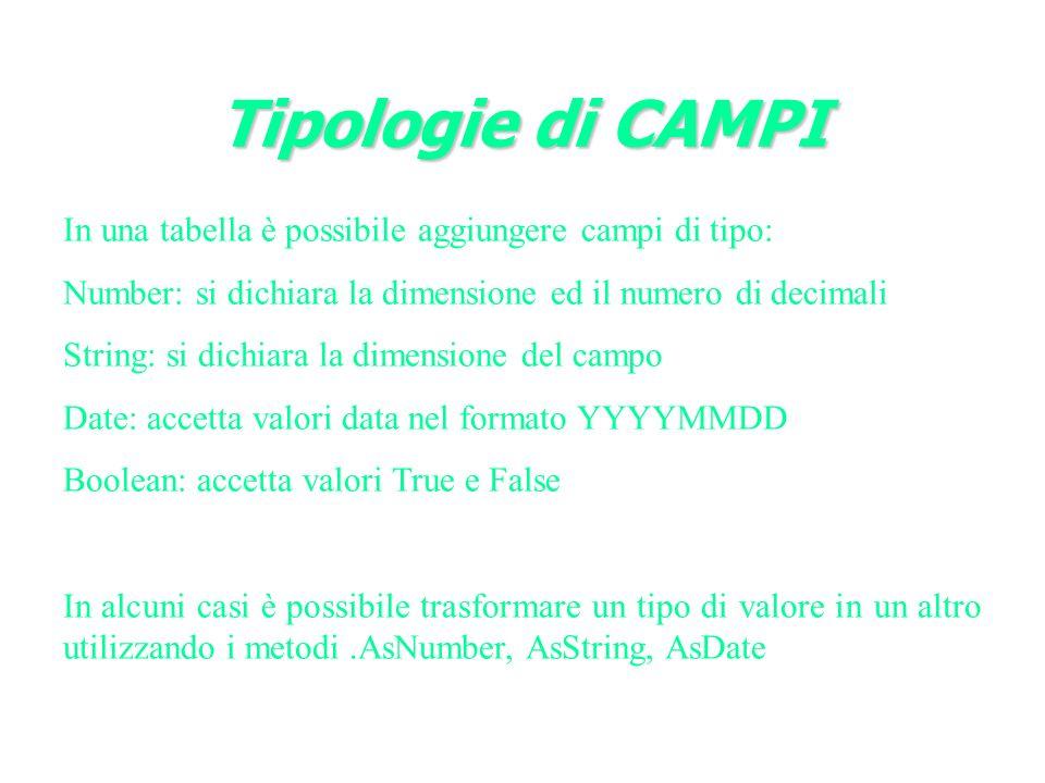 Tipologie di CAMPI In una tabella è possibile aggiungere campi di tipo: Number: si dichiara la dimensione ed il numero di decimali.