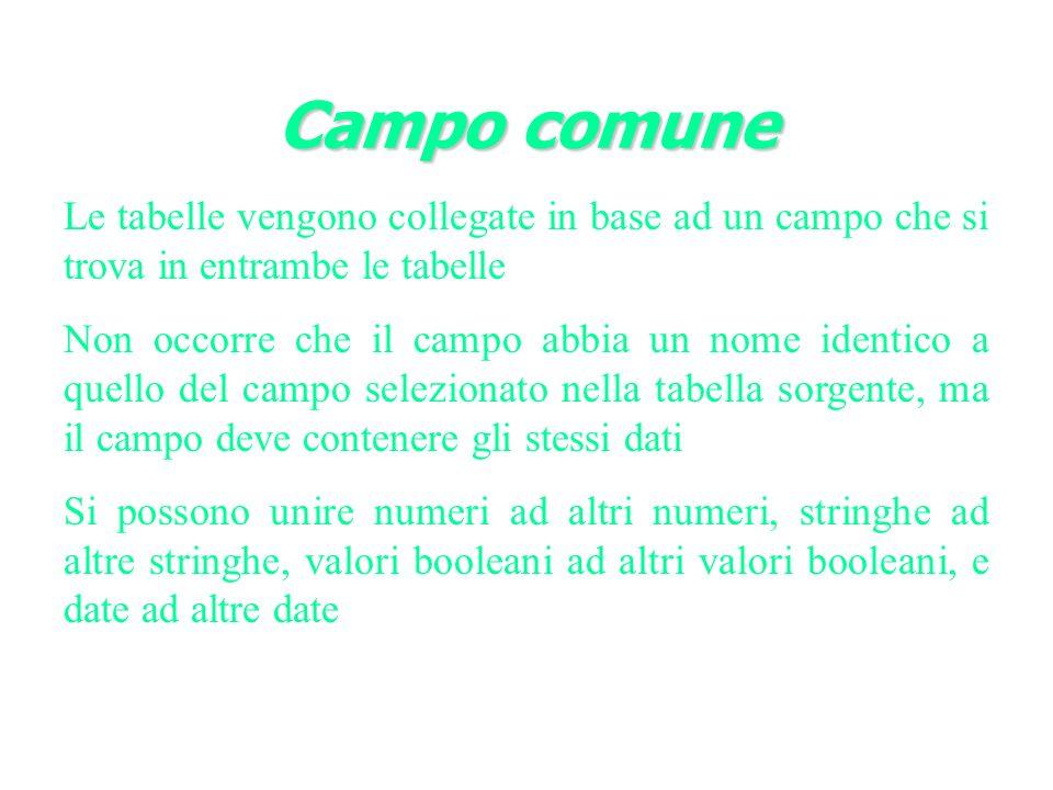Campo comune Le tabelle vengono collegate in base ad un campo che si trova in entrambe le tabelle.