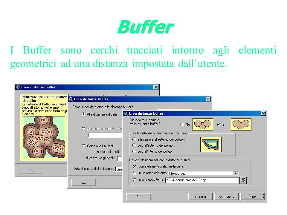 Buffer I Buffer sono cerchi tracciati intorno agli elementi geometrici ad una distanza impostata dall'utente.
