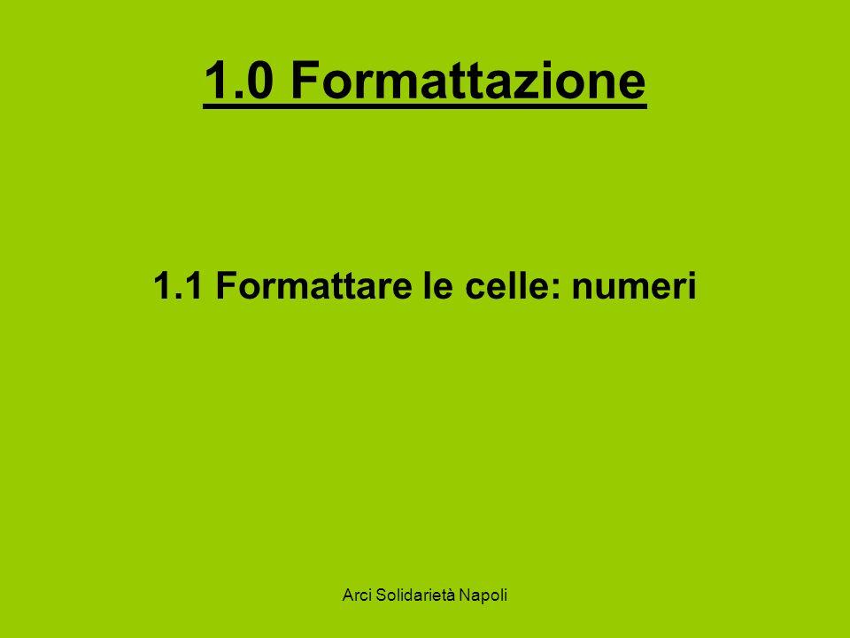 1.0 Formattazione 1.1 Formattare le celle: numeri