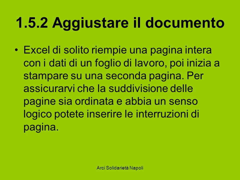 1.5.2 Aggiustare il documento