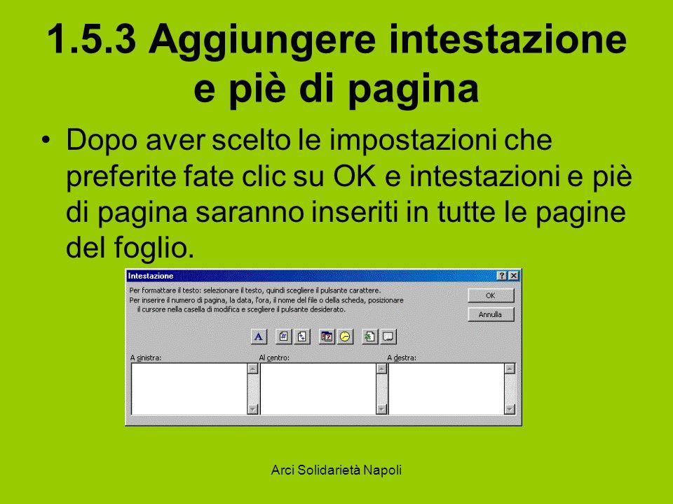 1.5.3 Aggiungere intestazione e piè di pagina